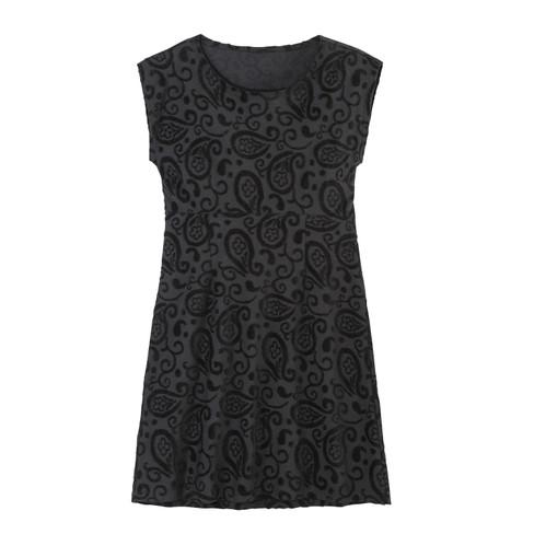 Intarsien-Kleid kurz aus Bio-Nicki, schwarz 44