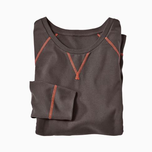 Langarm-Rippshirt aus Bio Baumwolle, schoko XXL
