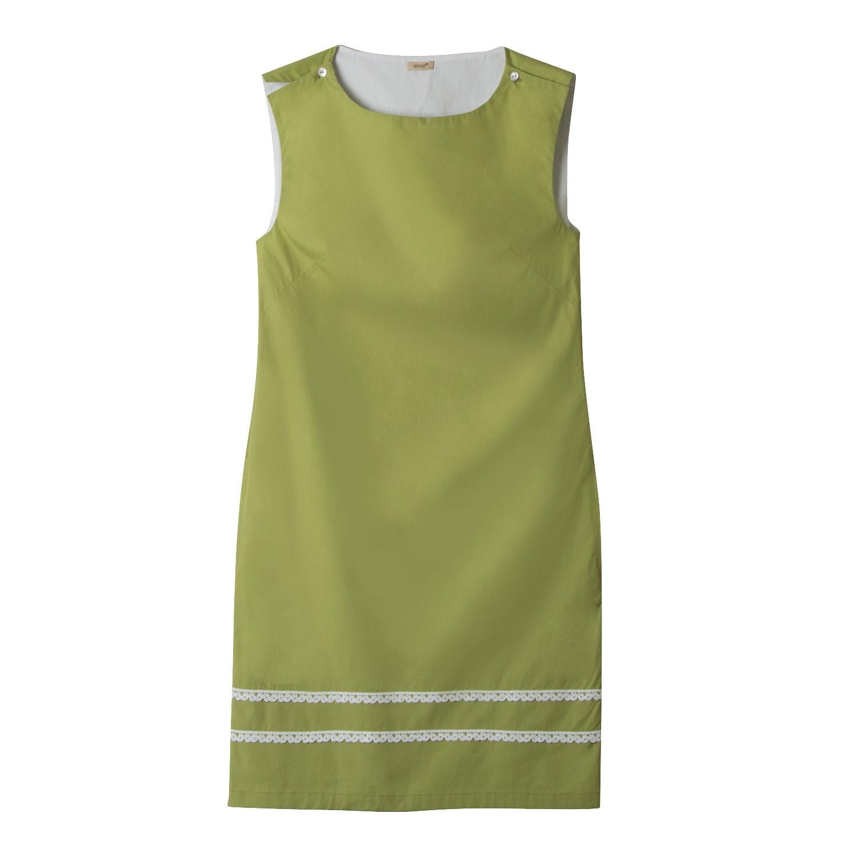 Ärmelloses Kleid mit zarter Spitzenbordüre, avocado/weiß from Waschbär
