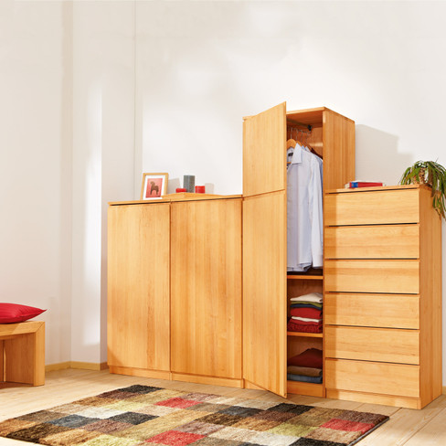 schrankmodul aus erlenholz f r kleine r ume. Black Bedroom Furniture Sets. Home Design Ideas