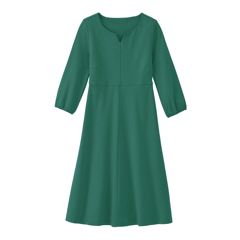 Jerseykleid aus reiner Bio-Baumwolle mit Tunika-Ausschnitt, seegras from Waschbär