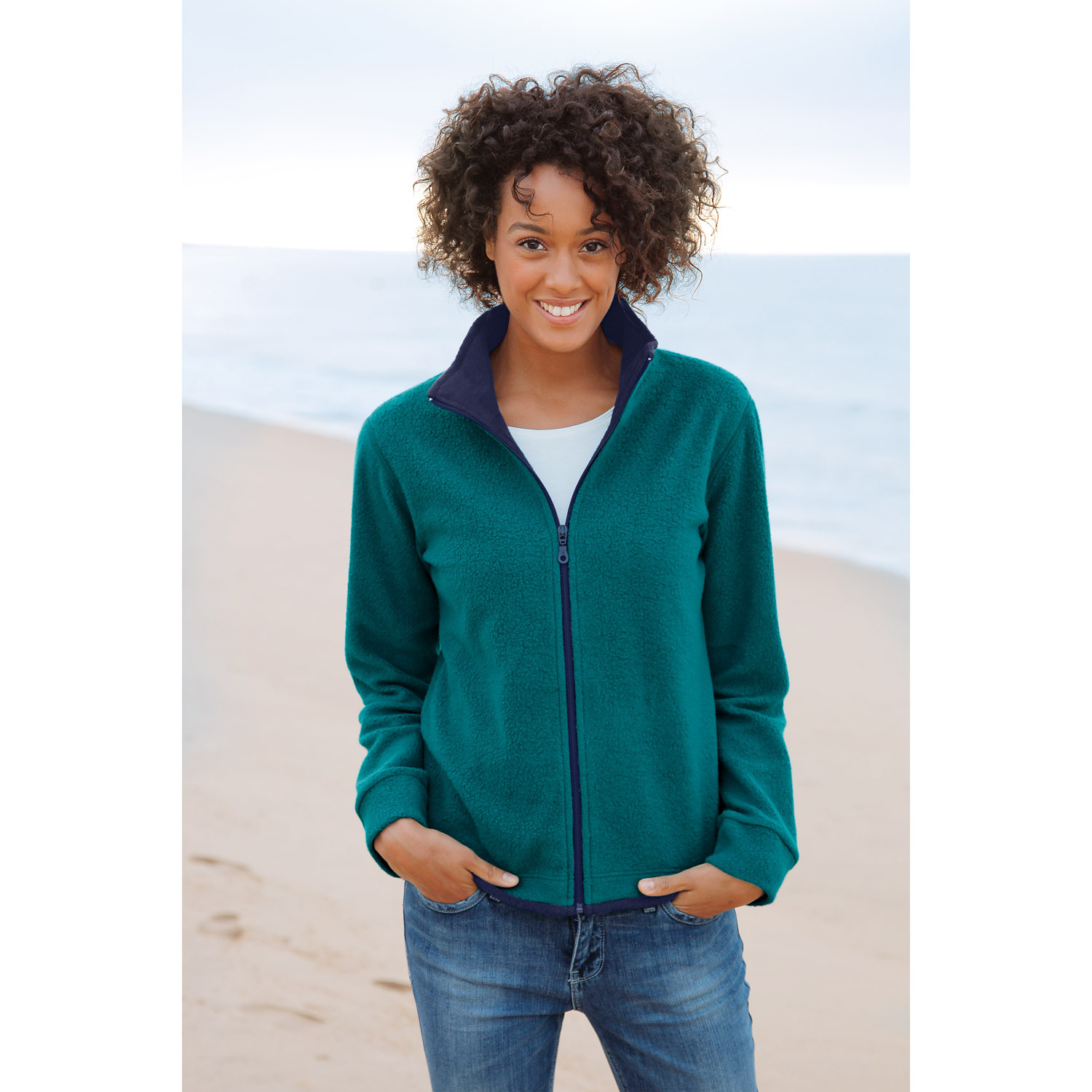 Fleece-Jacke, grau/anthrazit