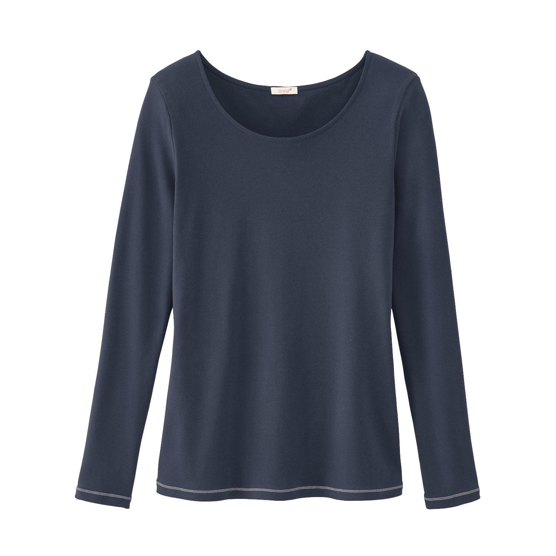 Langarmshirt mit Kontrastnaht aus Bio-Baumwolle, nachtblau from Waschbär