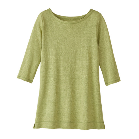 Leinenjerseyshirt, 3/4-Arm, avocado