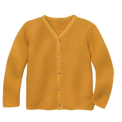 Strickjacke mit V-Ausschnitt aus Bio-Baumwolle, gelb