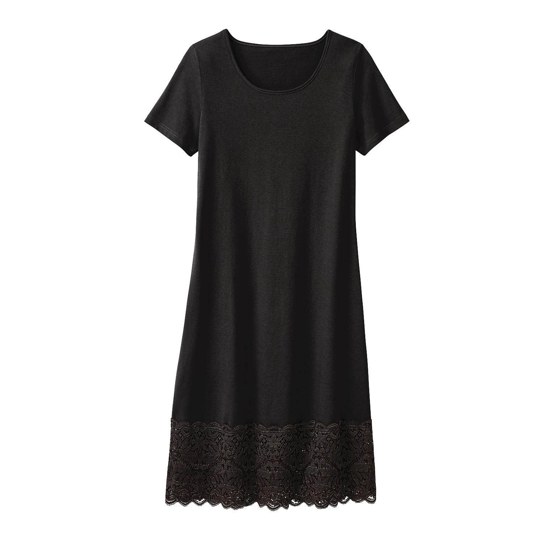 Jerseykleid mit Spitze aus Bio Baumwolle, schwarz from Waschbär